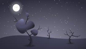Paesaggio scuro del fumetto di notte per progettazione del gioco Immagini Stock Libere da Diritti