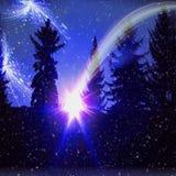 Paesaggio scuro della foresta di notte con la cometa, le stelle e la neve di caduta immagini stock libere da diritti