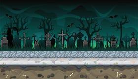 Paesaggio senza cuciture del cimitero con gli alberi per progettazione di video gioco Fotografie Stock