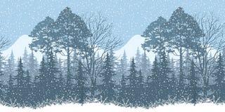 Paesaggio senza cuciture del terreno boscoso di inverno Fotografie Stock Libere da Diritti