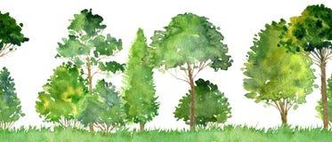 Paesaggio senza cuciture dell'acquerello con gli alberi Immagini Stock