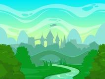 Paesaggio senza cuciture di mattina di fantasia del fumetto illustrazione di stock