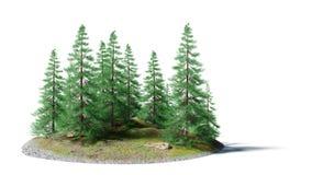 Paesaggio sereno con i pini su una piccola isola rocciosa isolata su fondo bianco Immagine Stock