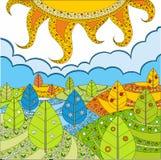 Paesaggio solare. Stagioni. royalty illustrazione gratis