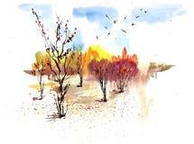 Paesaggio soleggiato di autunno dell'acquerello con gli alberi ed il cielo blu dorati royalty illustrazione gratis