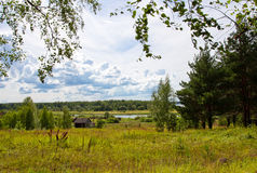 Paesaggio soleggiato rurale Fotografia Stock