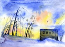 Paesaggio, solitudine e tristezza dell'acquerello di inverno Fotografia Stock Libera da Diritti