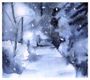 paesaggio Sosta di inverno Cartolina d'auguri Immagine Stock Libera da Diritti