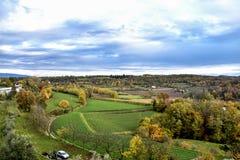 Paesaggio sotto casa Soprazzocco Italy. Vista della valle sotto la mia finestra di casa in soprazzocco di gavardo sul lago di garda Stock Photo