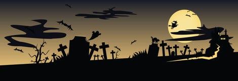 Paesaggio spaventoso di notte con il cimitero ed il getto Fotografia Stock