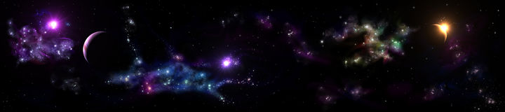 Paesaggio stellato di panorama Panorama dell'universo Fotografia Stock