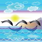 Paesaggio stilizzato del mare con i delfini illustrazione vettoriale