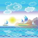 Paesaggio stilizzato del mare con le barche a vela Fotografia Stock Libera da Diritti