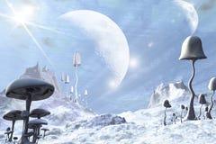 Paesaggio straniero blu congelato Fotografia Stock