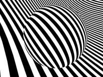 Paesaggio a strisce monocromatico con la grande sfera Immagini Stock