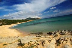 Paesaggio stupefacente alla spiaggia di Chia Immagine Stock