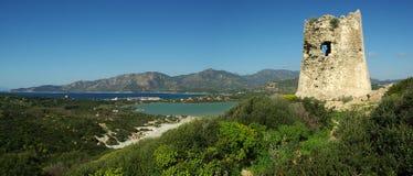 Paesaggio stupefacente alla spiaggia di Villasimius Fotografie Stock Libere da Diritti