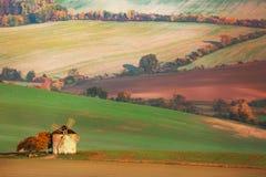 Paesaggio stupefacente dei campi moravian con il vecchio mulino a vento in Moravia del sud, repubblica Ceca Fotografie Stock Libere da Diritti