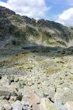 Paesaggio stupefacente dei laghi Musalenski, montagna di Rila Fotografia Stock