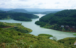 Paesaggio stupefacente del lago dalla montagna con l'abetaia Fotografie Stock Libere da Diritti
