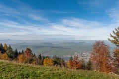 Paesaggio stupefacente di autunno sotto il supporto Rigi, alpi Fotografia Stock Libera da Diritti