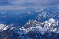 Paesaggio stupefacente di inverno delle alpi dal paradiso del ghiacciaio del Cervino Fotografia Stock Libera da Diritti
