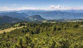 Paesaggio stupefacente in dolomia, Tirolo del sud, Italia di estate delle montagne Il passaggio di Oclini Immagine Stock Libera da Diritti