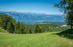Paesaggio stupefacente in dolomia, Tirolo del sud, Italia di estate delle montagne Il passaggio di Oclini Fotografia Stock Libera da Diritti