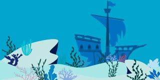 Paesaggio subacqueo blu con la nave incavata illustrazione di stock