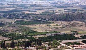 Paesaggio suburbano pastorale spagnolo dall'alto punto di vista Immagine Stock Libera da Diritti