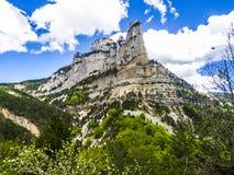 Paesaggio a sud della Francia, Rochecolombe, Drome, Rhone, alpi Fotografia Stock