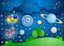 Paesaggio surreale con i grandi pianeti e bicicletta royalty illustrazione gratis