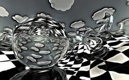 Paesaggio surreale della scacchiera Immagine Stock