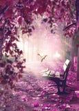 Paesaggio surreale Spazio di fantasia in parco e banco di legno con le colombe bianche fotografia stock libera da diritti