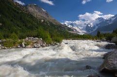 Paesaggio svizzero della montagna della valle del ghiacciaio di Morteratsch Immagini Stock
