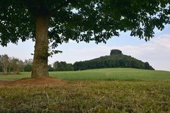 Paesaggio tedesco con il castello Zirkelstein su fondo e grande albero in priorità alta in Saxon Svizzera al tramonto di estate n Fotografia Stock