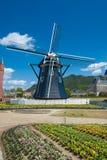 Paesaggio tipico del bello mulino a vento olandese in Ja Fotografia Stock Libera da Diritti