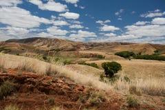 Paesaggio tradizionale dell'altopiano del Madagascar Immagini Stock