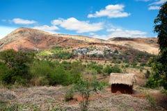 Paesaggio tradizionale dell'altopiano del Madagascar Fotografie Stock