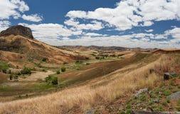 Paesaggio tradizionale dell'altopiano del Madagascar Fotografia Stock