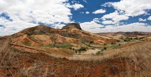 Paesaggio tradizionale della collina del Madagascar Fotografia Stock