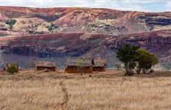 Paesaggio tradizionale della collina del Madagascar Immagini Stock