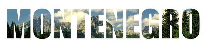 Paesaggio trasparente delle lettere del segno del Montenegro Fotografia Stock Libera da Diritti