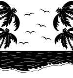 Paesaggio tropicale in bianco e nero illustrazione vettoriale