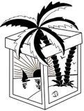 Paesaggio tropicale in bianco e nero royalty illustrazione gratis