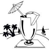 Paesaggio tropicale in bianco e nero illustrazione di stock