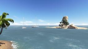 Paesaggio tropicale con l'yacht Fotografia Stock