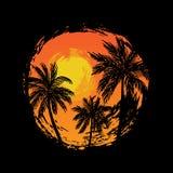 Paesaggio tropicale con le palme Fotografia Stock Libera da Diritti