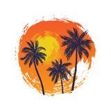 Paesaggio tropicale con le palme Fotografie Stock Libere da Diritti