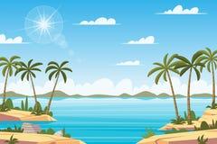 Paesaggio tropicale con le palme Fotografie Stock